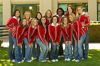 30 September 2005: Women's Gymnastics team photo: Top row (l to r): Jessica Louie, Alex Pintchouk, Tabitha Yim, Lauren Elmore, Glyn Sweets, Heather Purnell, Natalie Foley. Bottom row: Stacy Sprando, Aimee Precourt, Liz Tricase, Kelly Fee, Stephanie Gentry, Nicole Ourada.