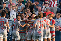 HARTFORD, CT - JULY 10: Matty Acosta #63 of New York Red Bulls II celebrates his goal with teammates during a game between New York Red Bulls II and Hartford Athletics at Dillon Stadium on July 10, 2021 in Hartford, Connecticut.