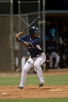 AZL Padres 2 third baseman Elvis Sabala (13) at bat during an Arizona League game against the AZL Padres 1 at Peoria Sports Complex on July 14, 2018 in Peoria, Arizona. The AZL Padres 1 defeated the AZL Padres 2 4-0. (Zachary Lucy/Four Seam Images)