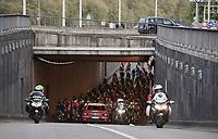 Peloton leaving Liège<br /> <br /> 103rd Liège-Bastogne-Liège 2017 (1.UWT)<br /> One Day Race: Liège › Ans (258km)