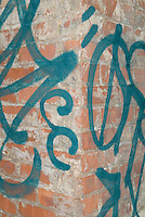 Detail of a Brick Wall with Graffiti, Mechanic's Alley, Chinatown, Lower Manhattan, New York City, New York State, USA