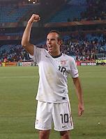 Landon Donovan acknowledges crowd following U.S. win. The United States won Group C of the 2010 FIFA World Cup in dramatic fashion, 1-0, over Algeria in Pretoria's Loftus Versfeld Stadium, Wednesday, June 23rd..