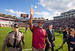 Florida State interim head coach Odell Haggins does the Seminole Chop as he walks off the field after an NCAA college football game against Louisiana Monroe in Tallahassee, Fla., Saturday, Dec. 2, 2017. Florida State defeated Louisiana Monroe 42-10.  (AP Photo/Mark Wallheiser)