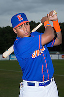 Gregory Valencia (47) of the Kingsport Mets poses for a photo prior to the game against the Elizabethton Twins at Hunter Wright Stadium on July 8, 2015 in Kingsport, Tennessee.  The Mets defeated the Twins 8-2. (Brian Westerholt/Four Seam Images)