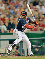 16 May 2012: Washington Nationals outfielder Xavier Nady in action against the Pittsburgh Pirates at Nationals Park in Washington, DC. The Nationals defeated the Pirates 7-4 in the first game of their 2-game series. Mandatory Credit: Ed Wolfstein Photo
