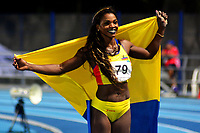 BARRANQUILLA - COLOMBIA, 01-08-2018: Catherine Ibargüen, de Colombia, durante su participación en la prueba de Salto Triple Mujeres, en el Estadio de Atletismo Rafael Cotes, como parte de los Juegos Centroamericanos y del Caribe Barranquilla 2018. / Catherine Ibargüen, from Colombia, during his participation in the Triple Jump Women test, at the Rafael Cotes Athletics Stadium, as a part of the Central American and Caribbean Sports Games Barranquilla 2018. Photo: VizzorImage / Alfonso Cervantes / Cont.