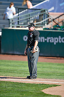 Home plate umpire Jake Botek during the Pioneer League game between the Billings Mustangs and the Ogden Raptors at Lindquist Field on August 14, 2016 in Ogden, Utah. Ogden defeated Billings 15-9. (Stephen Smith/Four Seam Images)