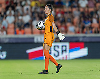 HOUSTON, TX - JUNE 13: Sydney Schneider #1 of Jamaica holds the ball during a game between Jamaica and USWNT at BBVA Stadium on June 13, 2021 in Houston, Texas.