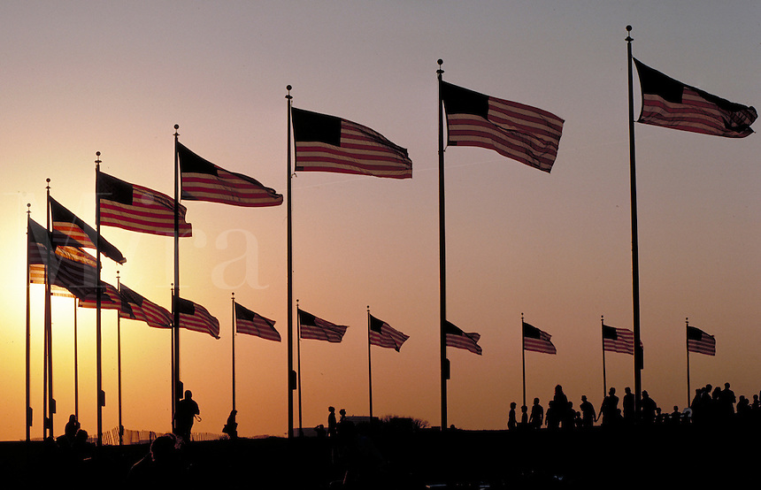 American Flags at the base of the Washington Monument. Washington DC USA.
