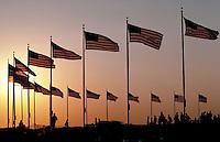 American Flags at the base of the Washington Monument. Washington DC USA.