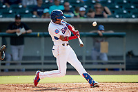 Tennessee Smokies center fielder Christopher Morel (11) hits a home run against the Rocket City Trash Pandas at Smokies Stadium on July 2, 2021, in Kodak, Tennessee. (Danny Parker/Four Seam Images)