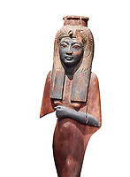Ancient Egyptian voitive statue of Nefratari, New Kingdom, 19th -20th Dynasty, (1292-1076 BC, Deir el-Medina. Egyptian Museum, Turin. Cat 1349. white background.<br /> <br /> Queen Ahmose Neferatari, wife and mother of Amenhoptec I show the great devotion she was held in by ancient Egyptians. The inscription on the base name the dedicators of the statue