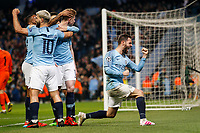 Bernardo Silva of Manchester City celebrates after Sergio Aguero of Manchester City scores his side's fourth goal to make the score 4-2 during the UEFA Champions League Quarter Final second leg match between Manchester City and Tottenham Hotspur at the Etihad Stadium on April 17th 2019 in Manchester, England. (Photo by Daniel Chesterton/phcimages.com)<br /> Foto PHC/Insidefoto <br /> ITALY ONLY