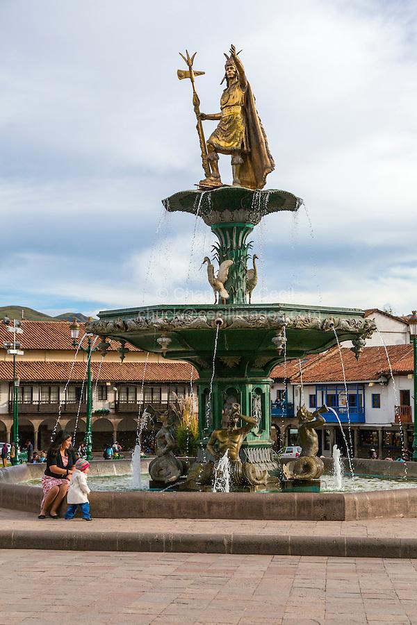 Peru, Cusco.  Fountain with Inca King Pachacutec, Plaza de Armas.