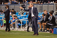 SAN JOSE, CA - MAY 12: Brian Schmetzer  Head Coach of the Seattle Sounders directs his players during a game between San Jose Earthquakes and Seattle Sounders FC at PayPal Park on May 12, 2021 in San Jose, California.
