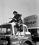 Client: WJ Dillner Transfer Company<br /> Ad Agency: National Union Insurance<br /> Contact: Bill Wilde<br /> Product: Insurance for the Trucking Industry<br /> Location:  WJ Dillner offices at 2748 W. Liberty Ave., Pittsburgh<br /> <br /> Brady Stewart Jr modeling for the WJ Dillner Transfer Company.  The company kept rejecting models for the photoshoot.  After they rejected the last one late in the day and my father was chomping on his last cigar, someone came up with the idea that he would be perfect for the photoshoot.