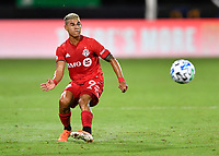 LAKE BUENA VISTA, FL - JULY 26: Erickson Gallardo of Toronto FC passes the ball during a game between New York City FC and Toronto FC at ESPN Wide World of Sports on July 26, 2020 in Lake Buena Vista, Florida.
