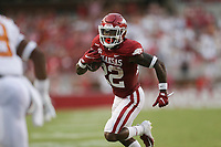 Arkansas running back Trelon Smith (22) carries the ball, Saturday, September 11, 2021 during the second quarter of a football game at Reynolds Razorback Stadium in Fayetteville. Check out nwaonline.com/210912Daily/ for today's photo gallery. <br /> (NWA Democrat-Gazette/Charlie Kaijo)
