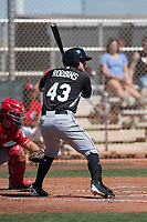 Chicago White Sox right fielder Mason Robbins (43) during a Minor League Spring Training game against the Cincinnati Reds at the Cincinnati Reds Training Complex on March 28, 2018 in Goodyear, Arizona. (Zachary Lucy/Four Seam Images)