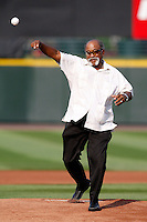 July 22, 2009:  Former Major League pitcher Luis Tiant at Frontier Field in Rochester, NY to throw out the ceremonial first pitch.  Tiant, from Cuba, played for the Cleveland Indians, Minnesota Twins, Boston Red Sox, New York Yankees, and California Angels.  Photo By Mike Janes/Four Seam Images