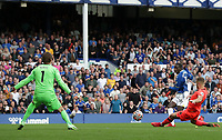 25th September 2021; Goodison Park, Liverpool, England; Premier League football, Everton versus Norwich; Abdoulaye Doucoure of Everton beats Norwich City goalkeeper Tim Krul to give his side a 2-0 lead after 76 minutes