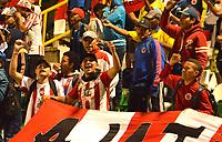 TUNJA- COLOMBIA, 18-08-2018:Hinchas del Atlético Junior.Acción de juego entre los equipos Boyaca Chicó y Atlético Junior  durante partido por la fecha 5 de la Liga Águila II 2018 jugado en el estadio La Independencia de la ciudad de Tunja. / Fans of Atletico Junior.Action game between Atletico Junior against Boyaca Chicó during the match for the date 5 of the Liga Aguila II 2018 played at the La Independencia stadium in Tunja city. Photo: VizzorImage / José Miguel Palencia / Contribuidor