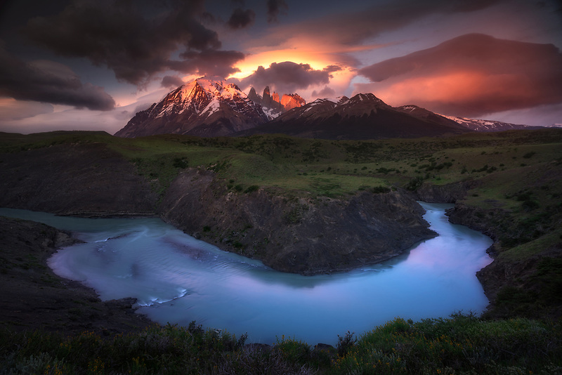 Eruption over the Towers of Paine. Torres Del Paine National Park, Chile
