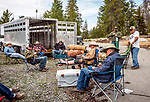 The guys taking a break at trailer camp and Daniel resting his recently heeled broken ankle, Sierra National Forest, on the western slope of the Sierra Nevada, California