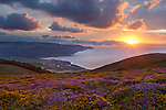 Great Britain, England, Somerset, Porlock: View over Porlock Bay and Exmoor National Park | Grossbritannien, England, Somerset, Porlock: Sonnenuntergang ueber Porlock Bay und dem Exmoor National Park