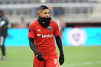 WASHINTON, DC - FEBRUARY 29: Washington, D.C. - February 29, 2020: Edison Flores #10 of D.C. United during pre-game warmups. The Colorado Rapids defeated D.C. United 2-1 during their Major League Soccer (MLS)  match at Audi Field during a game between Colorado Rapids and D.C. United at Audi FIeld on February 29, 2020 in Washinton, DC.