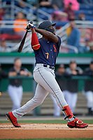 State College Spikes Terry Fuller (7) bats during a NY-Penn League game against the Batavia Muckdogs on August 24, 2019 at Dwyer Stadium in Batavia, New York.  State College defeated Batavia 1-0.  (Mike Janes/Four Seam Images)