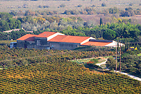 Chateau Mire l'Etang. La Clape. Languedoc. France. Europe. Vineyard. The winery building.