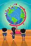 Illustrative image of businesspeople targeting towards globalization