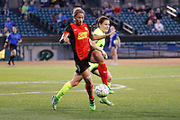 Rochester, NY - Saturday July 09, 2016: Western New York Flash forward Lynn Williams (9), Seattle Reign FC defender Kendall Fletcher (13) during a regular season National Women's Soccer League (NWSL) match between the Western New York Flash and the Seattle Reign FC at Frontier Field.