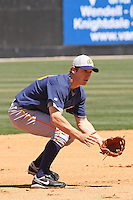 Greg Sexton #38 of the Montgomery Biscuits fielding during a game against the Carolina Mudcats on April 18, 2010 in Zebulon, NC.