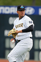 Trenton Thunder starting pitcher Dellin Betances #50 warms up before a game against the Portland Sea Dogs at Waterfront Park on May 4, 2011 in Trenton, New Jersey.  Trenton defeated Portland by the score of 7-1.  Photo By Mike Janes/Four Seam Images