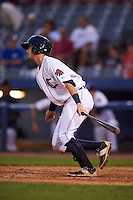 Connecticut Tigers shortstop Keaton Jones (17) at bat during the first game of a doubleheader against the Brooklyn Cyclones on September 2, 2015 at Senator Thomas J. Dodd Memorial Stadium in Norwich, Connecticut.  Brooklyn defeated Connecticut 7-1.  (Mike Janes/Four Seam Images)