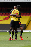 GOAL - Joao Pedro (10) of Watford celebrates with Ismaila Sarr (23) of Watford after he scores the opening goal during the Sky Bet Championship match between Watford and Luton Town at Vicarage Road, Watford, England on 26 September 2020. Photo by David Horn.