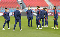 TORONTO, ON - OCTOBER 15: Nick Lima #16, Jordan Morris #11 and Weston McKennie #8 of the United States walk around the field prior to the start of the game during a game between Canada and USMNT at BMO Field on October 15, 2019 in Toronto, Canada.