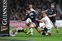 Sam Johnson of Scotland fights his way past George Ford of England on his way to score a try during the Guinness Six Nations Calcutta Cup match between England and Scotland at Twickenham Stadium on Saturday 16th March 2019 (Photo by Rob Munro/Stewart Communications)