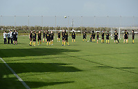 20190226 - LARNACA , CYPRUS :  illustration picture shows the Belgian players during a Matchday -1 training from The Belgian Red Flames prior to their game against the women team of Slovakia , on Tuesday 26 February 2019 at the Alpha Sports Grounds in Larnaca , Cyprus . This will be the first game in group C for Belgium during the Cyprus Womens Cup 2019 , a prestigious women soccer tournament as a preparation on the European Championship 2021 qualification duels. PHOTO SPORTPIX.BE   STIJN AUDOOREN