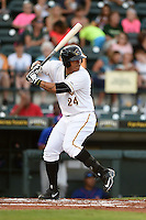 Bradenton Marauders first baseman Jose Osuna (24) at bat during a game against the St. Lucie Mets on April 11, 2015 at McKechnie Field in Bradenton, Florida.  St. Lucie defeated Bradenton 3-2.  (Mike Janes/Four Seam Images)