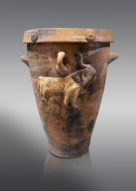 Minoan domestic libation vessel with the relief of a bull, Hagia Triada 1900-1700 BC; Heraklion Archaeological  Museum, grey background.