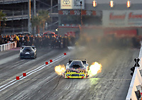 Oct 29, 2016; Las Vegas, NV, USA; NHRA funny car driver Jim Campbell during qualifying for the Toyota Nationals at The Strip at Las Vegas Motor Speedway. Mandatory Credit: Mark J. Rebilas-USA TODAY Sports