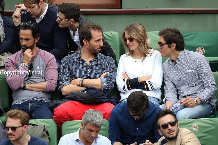 Florent Peyre, Arie Elmaleh, Laurence Arne and boyfriend seen watching tennis during Roland Garros tennis open 2016 on may 26 2016.