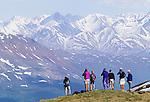Hikers, Alsek Range, Tatshenshini River Valley, Yukon, Canada