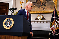 United States President Joe Biden departs after addressing the nation after the US House passed the American Rescue Plan and sent it to the US Senate for consideration from the Rosevelt Room of the White House in Washington, D.C. on February 27, 2020. <br /> Credit: Sam Corum / Pool via CNP /MediaPunch