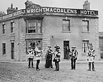 Ripon Sword Dance Play, Ripon Yorkshire around 1900. UK. The Magdalens hotel and pub. This is a found photograph collected in the 1970s.
