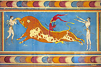 The 'Bull leaper' Minoan fresco, reconstructed at Knossos Archaeological Site, Crete
