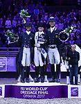 OMAHA, NEBRASKA - APR 1: Laura Graves (left), Isabell Werth (middle), and Carl Hester (right) stand on the podium after their top finishes in the FEI World Cup Dressage Final at the CenturyLink Center on April 1, 2017 in Omaha, Nebraska. (Photo by Taylor Pence/Eclipse Sportswire/Getty Images)